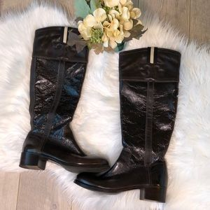 Tory Burch brown crinkle patent leather boot